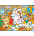 Santa Claus reads letters vector image vector image