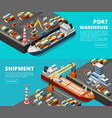 sea transportation horizontal sea freight vector image vector image