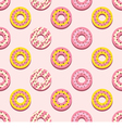 Seamless Pattern Different Style Strawberry Donuts