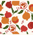 seamless pattern with pomegranate trendy vector image vector image