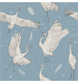 seamless pattern with white cranes vector image vector image
