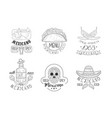 set sketch emblems for mexican vector image vector image