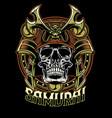 skull of samurai warrior vector image vector image