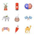 travel around world icons set cartoon style vector image vector image