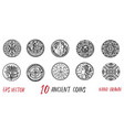 vintage collection with ten ancient coins vector image vector image