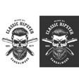 vintage monochrome hipster skull label vector image
