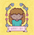 woman with flowers celebrating womens day vector image vector image