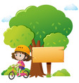 wooden sign template with girl biking vector image vector image