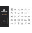 30 travel line icons vector image vector image