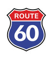 60 route sign icon road 60 highway vector image vector image