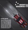 a car on night road vector image vector image