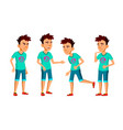 asian teen boy poses set fun cheerful vector image