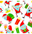 background with cute santa claus and gift boxes vector image vector image