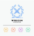 battle emblem game label swords 5 color line web vector image