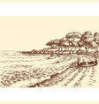 beach sea and a boat on shore hand drawing vector image