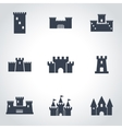 black castle icon set vector image vector image