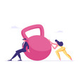 businessman and businesswoman pushing huge weight vector image vector image
