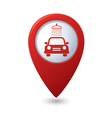 Car wash icon on map pointer vector image