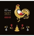 Card 2017 Happy New Year Stylized rooster Holiday vector image vector image