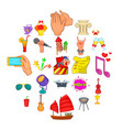 ceremonial icons set cartoon style vector image vector image