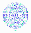 eco smart house concept in circle vector image