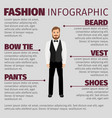 fashion infographic with bearded hipster man vector image