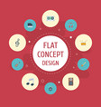 flat icons audio box tape earphone and other vector image vector image