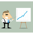 Happy Cartoon businessman with presentation graph vector image vector image