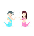 happy mermaid and merman on white in design vector image vector image