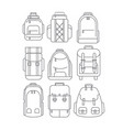 hiking school casual backpacks or rucksacks in vector image vector image