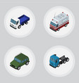isometric car set of truck armored first-aid and vector image vector image