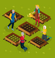 isometric pensioners working in garden template vector image vector image