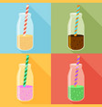 juice in a bottle icon set flat icon with long vector image vector image