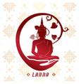 lanna buddha statue white background image vector image vector image