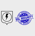 linear electric shield icon and scratched vector image vector image