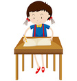 Little girl writing on blank book vector image