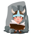 little viking have a book in the hand cartoon vector image vector image