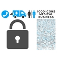Lock Icon with 1000 Medical Business Pictograms vector image