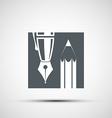 Logo pencil and pen vector image vector image