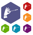 magician hand with a magic wand icons set vector image