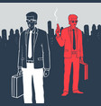man in suits with suitcases and gun vector image vector image