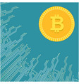 modern golden bitcoin blue background image vector image
