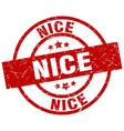 nice red round grunge stamp vector image vector image