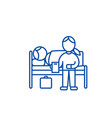 nursery doctor with patient in hospital line icon vector image vector image