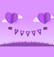 paper style love of valentine day violet pantone vector image