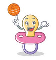 playing basketball baby pacifier character cartoon vector image