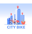 red female urban bicycle stands on street city vector image vector image
