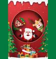 santa claus reindeer and elf at window vector image vector image