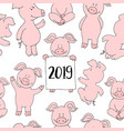 seamless pig collection set banner happy new year vector image vector image