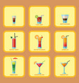 set alcoholic cocktails cards fruit cold drinks vector image vector image